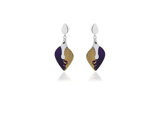 Heart Purple Sterling Silver Earrings