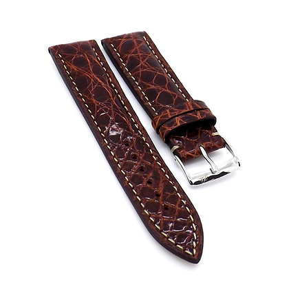 Mens 22mm Crocodile brown watch strap with cream stitching
