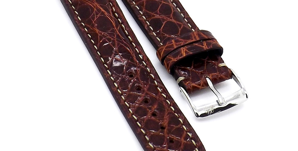 Mens 22mm Crocodile brown watch strap with cream stitching