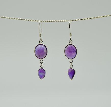 Double Drop Amethyst Silver Earrings