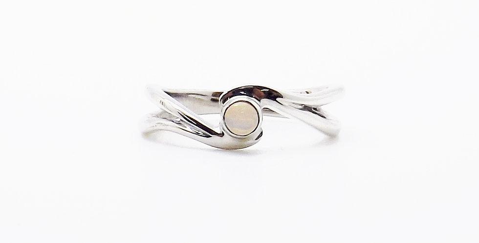 October, Opal Set Silver Birthstone Twist Ring