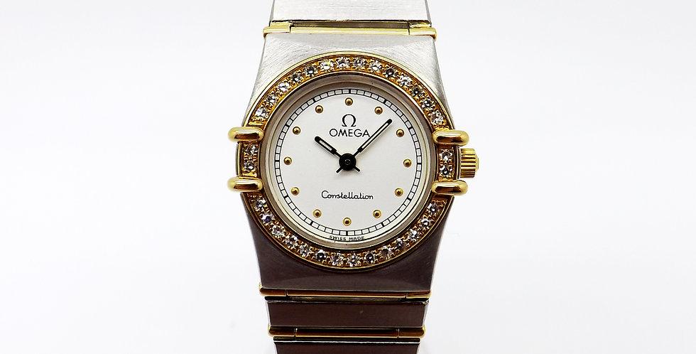 Omega Constellation, 18ct & steel with diamond set bezel