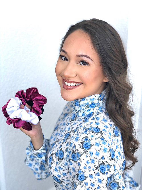 White and Maroon Scrunchies
