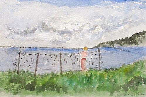 """Astri Bergman Taube, """"Pojke och fisknät.."""""""