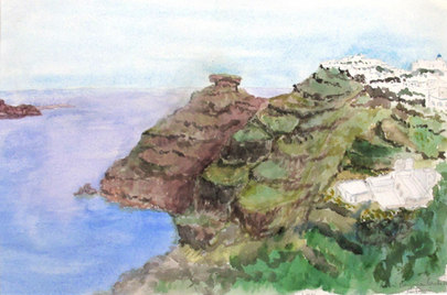 Utsikt från Hotel Galini, Santorini,