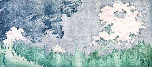 Cherry Trees, Stormy Sky