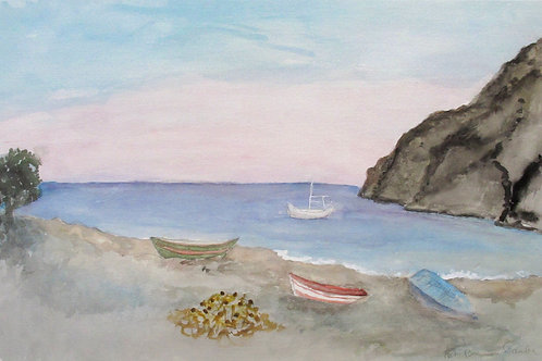 "Astri Bergman Taube, ""Båtar på stranden..."""