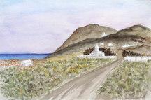 Messaria, afton, Thira, Santorini, s