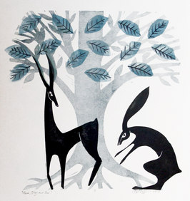 Hare, Stag and Tree