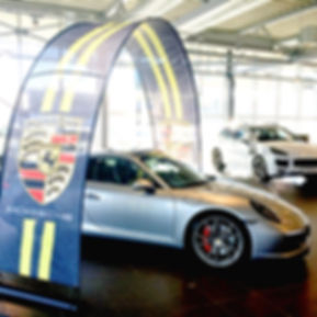 Event arch at a Porsche car dealer