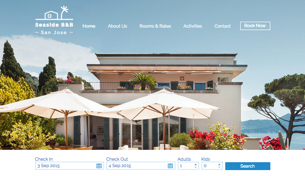 Accommodation website templates – Beach Side B&B