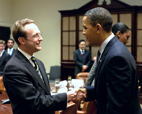 Barack Obama and Jonah Czerwinski in the Roosevelt Room