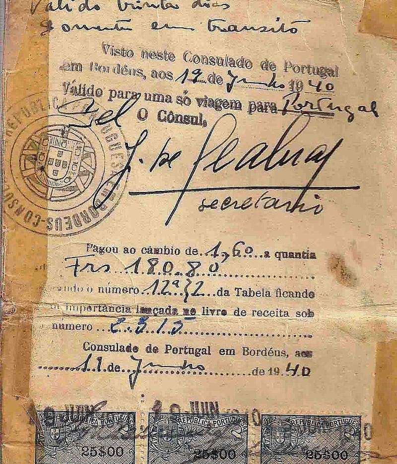 Visto de salvação emitido pelo Dr. Aristides de Sousa Mendes em 19 de junho de 1940, com a assinatura de seu secretário José Seabra