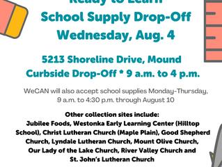 Outdoor School Supply Drop-Off is Aug. 4