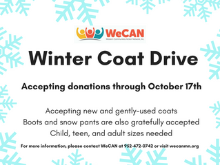 WeCAN Coat Drive Begins