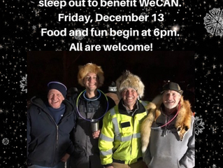 Eddie's Sleep Out to Support WeCAN is Dec. 13