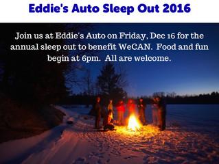 Annual Sleep-Out at Eddie's Dec. 16!