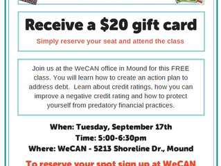 FREE Managing Your Debt and Credit Class Offered Sept. 17
