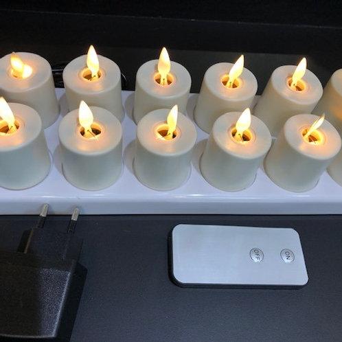 LED Teelichter auf Board mit aufladbarem Akku