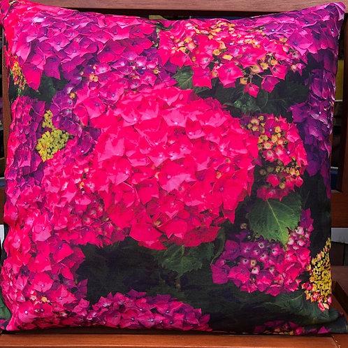 Outdoorkissen 50 x 50 cm mit Polyesterfüllung Hortensie pink