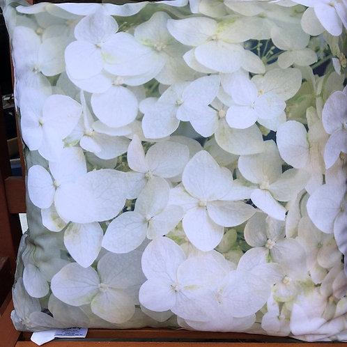 Outdoorkissen 50 x 50 cm mit Polyesterfüllung Hortensie weiß und weiß/rose