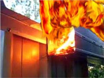 Gutter Rudder steers burning embers over gutters safely