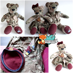 Foxy Sews Memory Bear - Army Bear