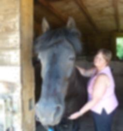 Pony, Ebony recieving Reiki