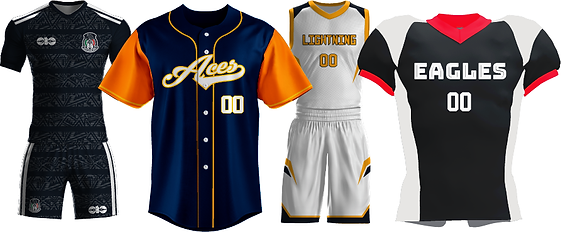 Examples of soccer, baseball/softball, basketball, and football league uniform designs on white background