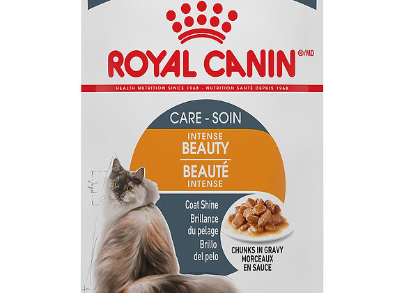Royal Canin Intense Beauty Chunks in Gravy Pouch, 3 oz