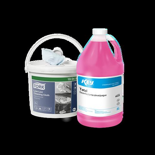 Wipers en Cubeta con desinfectante KEY® Total