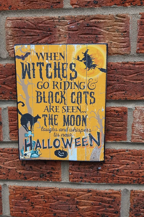 Witches go riding plaque