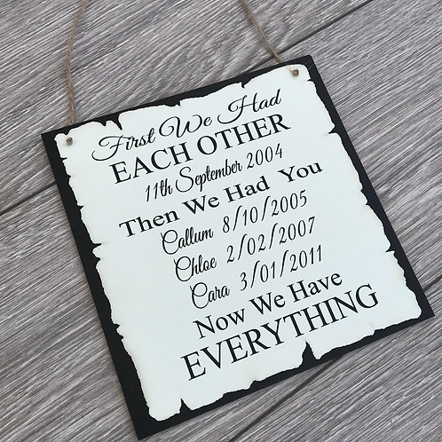 First we had each other wooden plaque