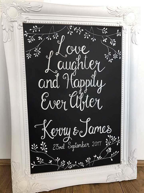 Love, laughter and happily ever after chalkboard