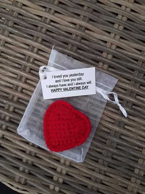 Crochet heart in a bag