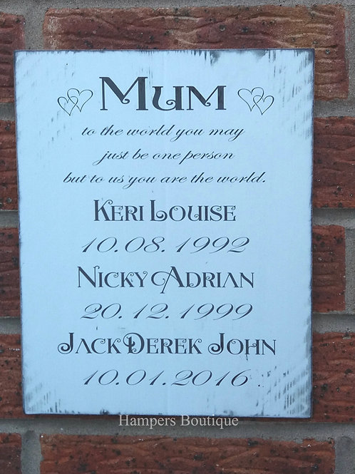 Mum to the world Plaque