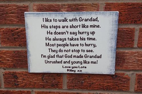 I like to walk with grandad plaque