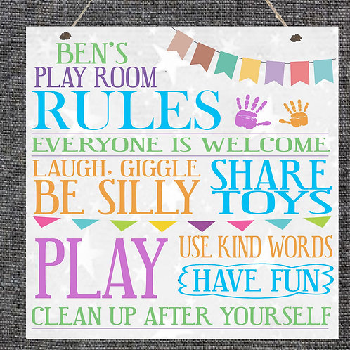Play room rules plaque