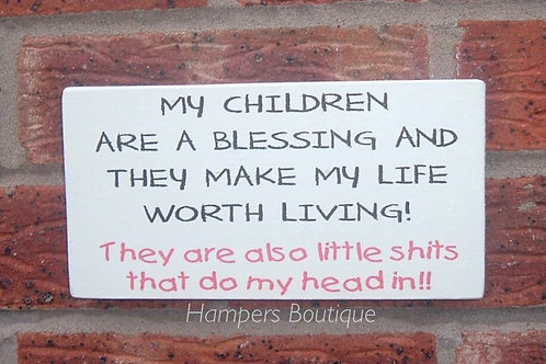 My children are a blessing plaque