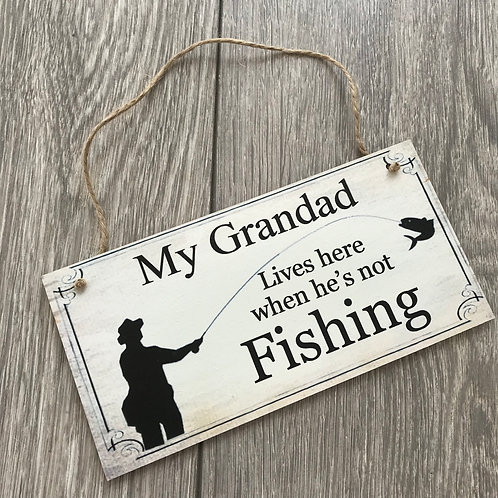 my grandad lives here when he's not fishing plaque