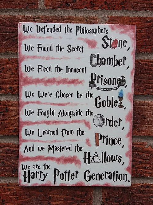 Harry Potter generation plaque