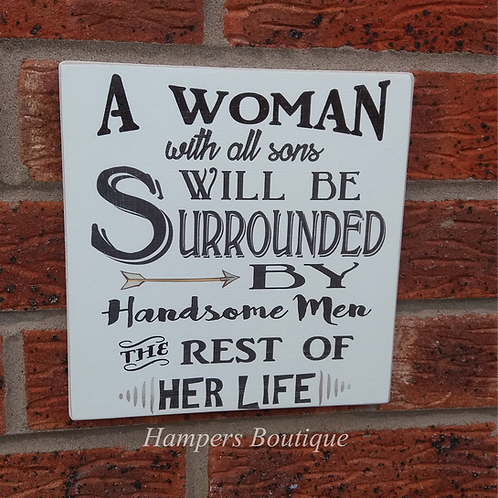 A woman with all sons plaque