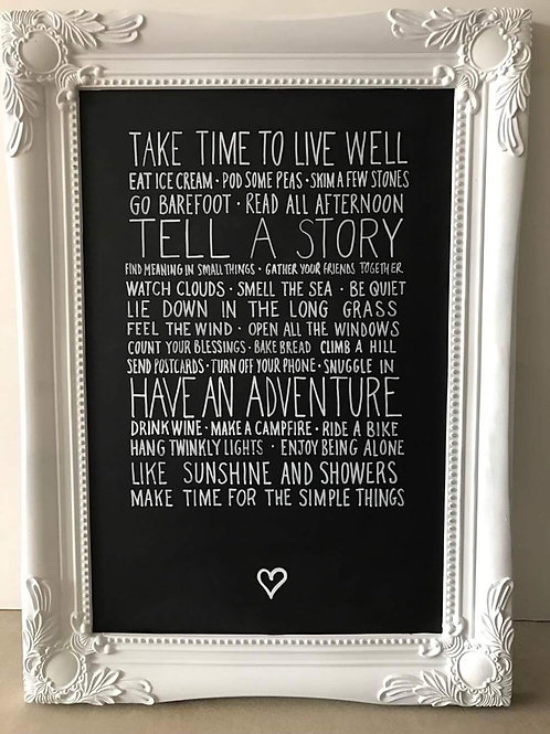 Take time to live well chalkboard