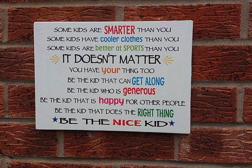 Be the nice kid (colourful version)