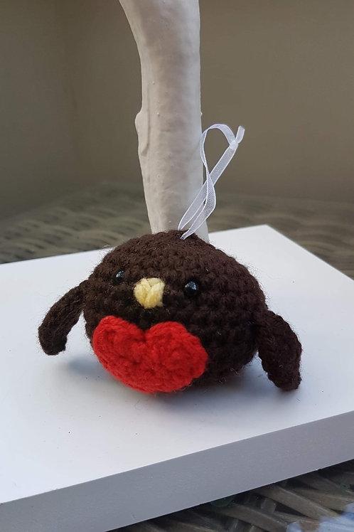 Crochet robin bauble