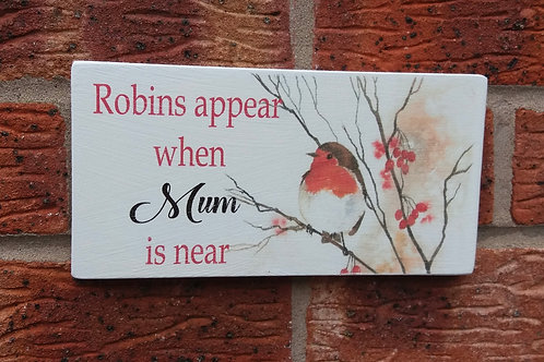 Robins appear personalised plaque