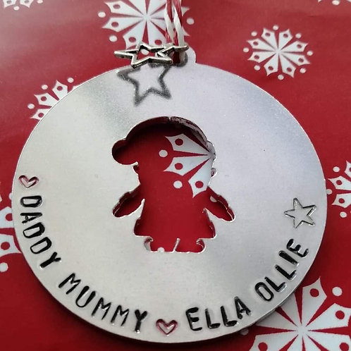 Hand stamped Father Christmas decoration
