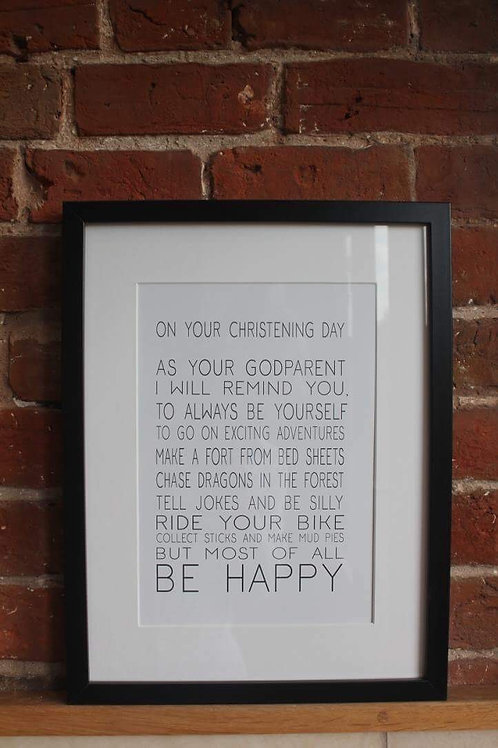 On your christening day print