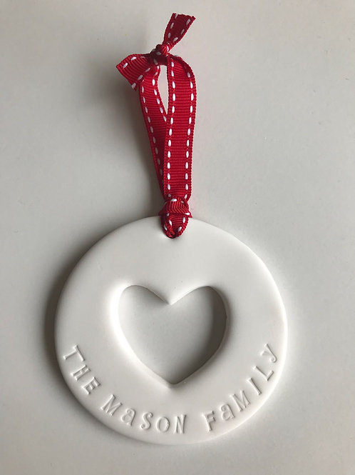 family clay cut out heart