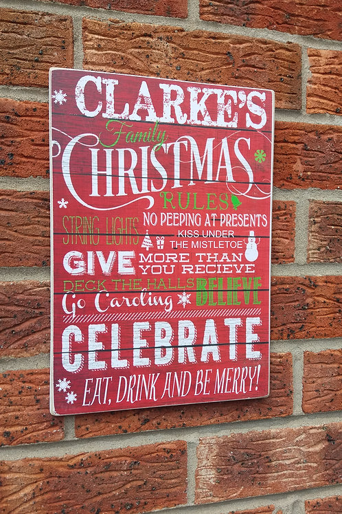 Christmas family rules plaque